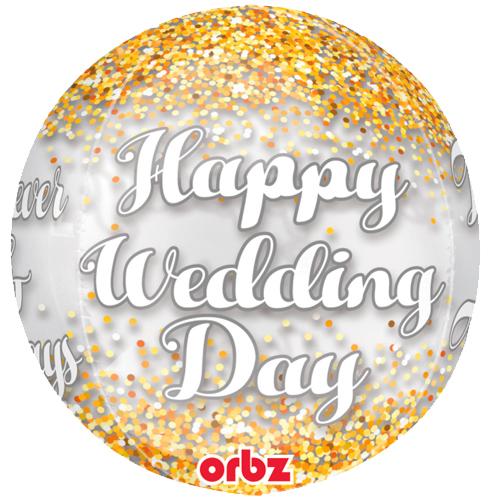 Happy Wedding day orbz heliumballon bestellen of bezorgen online