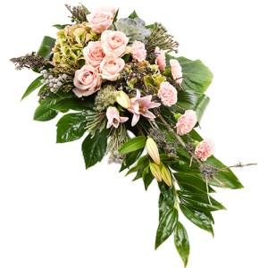 Rouwarrangement roze - groen bestellen of bezorgen online