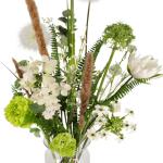 Zijdebloemen vintage wit in melkbus vaas bestellen of bezorgen