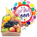 Fruitkistje met een get well heliumballon bestellen of bezorgen online