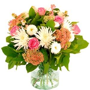 Najaarsboeket in roze-wit tinten bestellen of bezorgen online