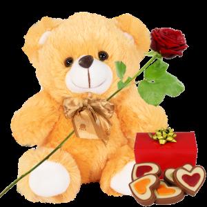 Licht bruine knuffel 22cm + verse rode roos + hartjes chocolade bestellen of bezorgen