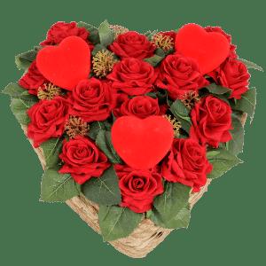 Hart van rode kunst rozen bestellen of bezorgen