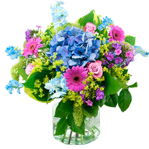 zomers boeket in paars blauw bestellen of bezorgen online