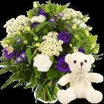 Boeket blauw wit + kleine witte knuffel bestellen of bezorgen