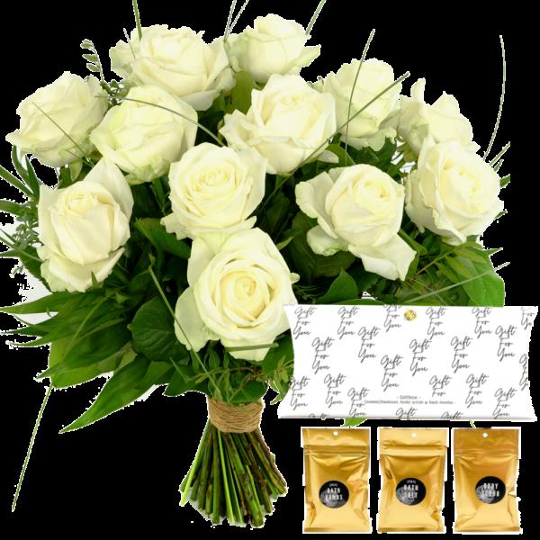 Boeket witte rozen + zeepset in giftbox bestellen of bezorgen
