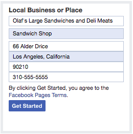 Facebook page categories