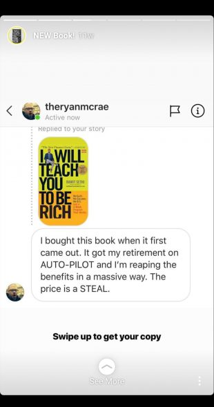 Instagram Story of a direct message to Ramit Sethi