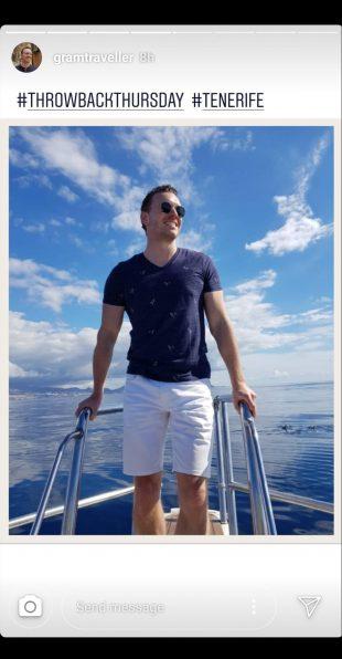 Instagram Story of white man standing on boat