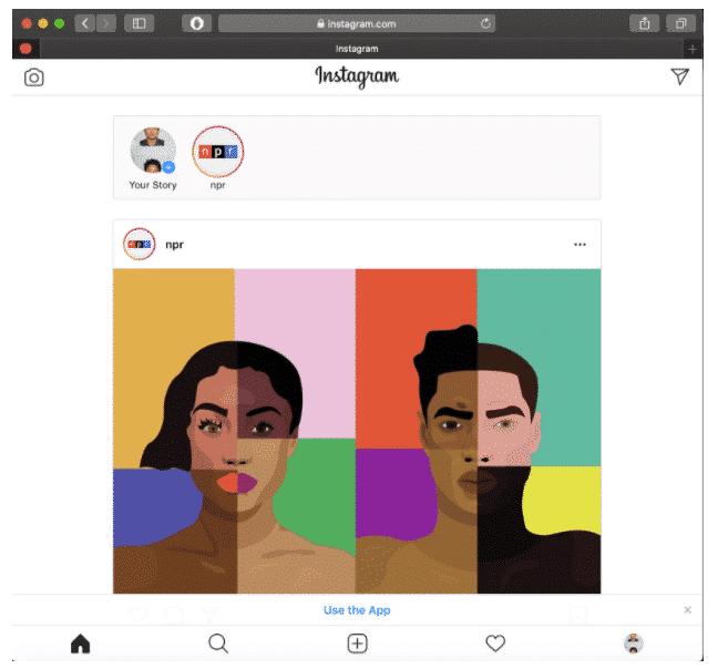Instagram mobile interface on desktop