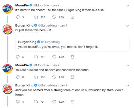 Burger King ve Moonpies arasındaki tweetler