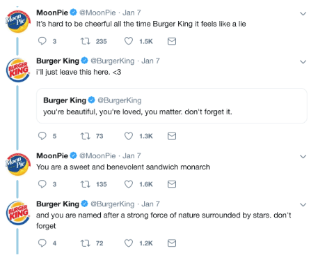 Burger King ve Moonpies arasındaki tweetler