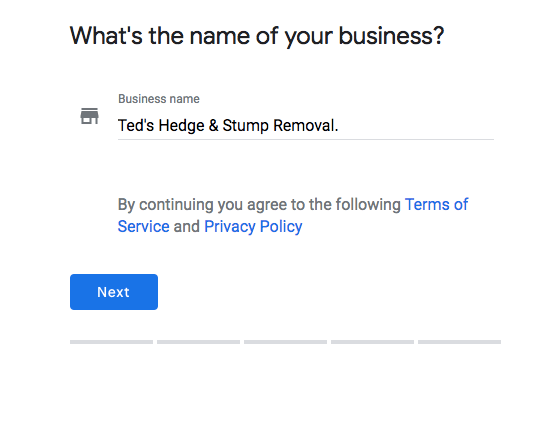 Adding in a business name in the sign up stage
