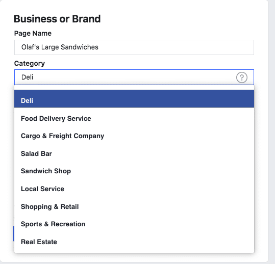 Types of businesses or brands to choose from