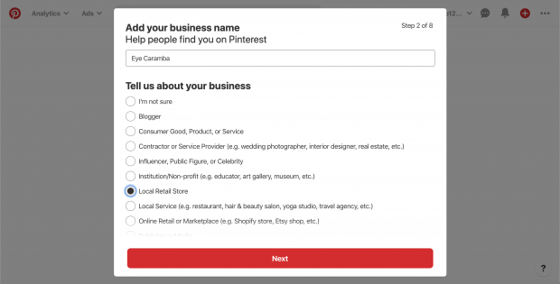 """""""Add your business name"""" screen on Pinterest"""