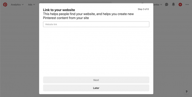 """""""Link to your website"""" screen for setting up your business on Pinterest"""
