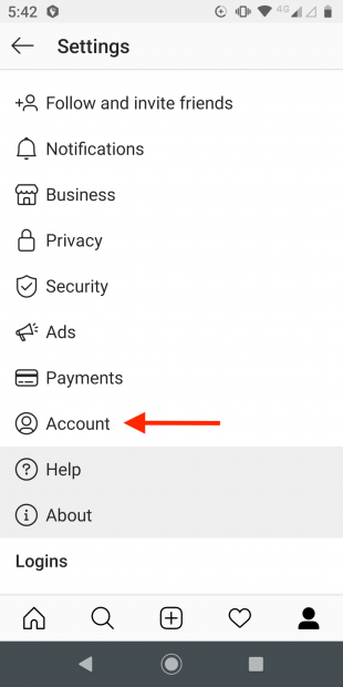 """Instagram Settings menu with """"Account"""" highlighted"""