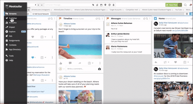 Publisher button highlighted in Hootsuite dashboard