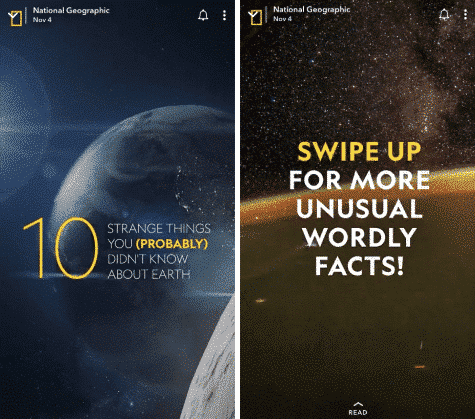 Storie Snapchat del National Geographic