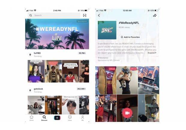 """Скриншоты страницы """"Интересное"""" и страницы одного из брендированных хэштегов с видео"""