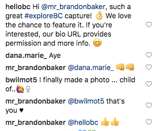 Hello BC asks Instagram user for permission to share their content