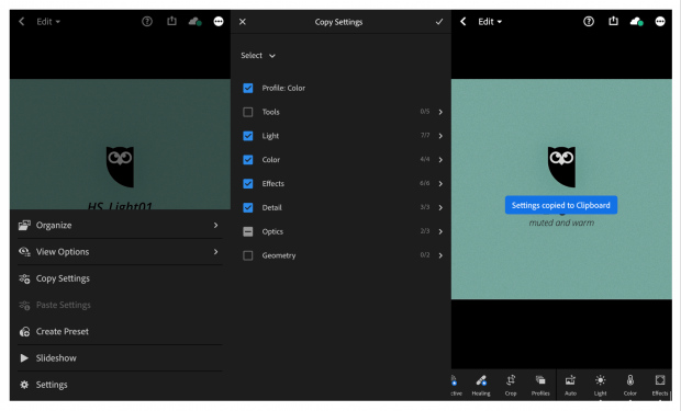 3 screens showing steps of copying settings from a selected Instagram preset within the Lightroom app