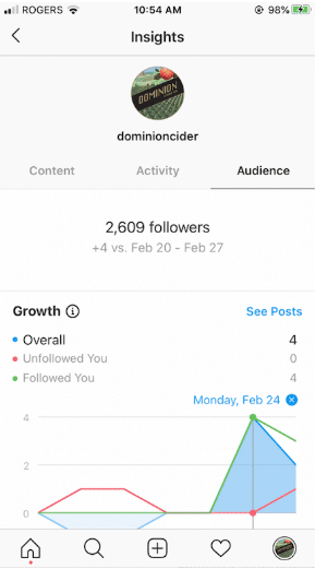 Schermata di Instagram Growth Insights