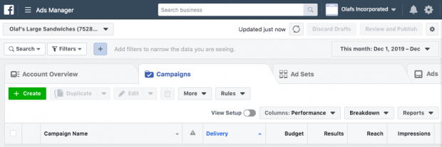 Screen to create an ad in Facebook Business Manager