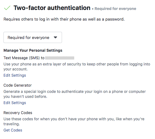 Setting up two-factor authentication in Facebook Business Manager