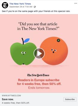 Annuncio GIF del New York Times su Facebook