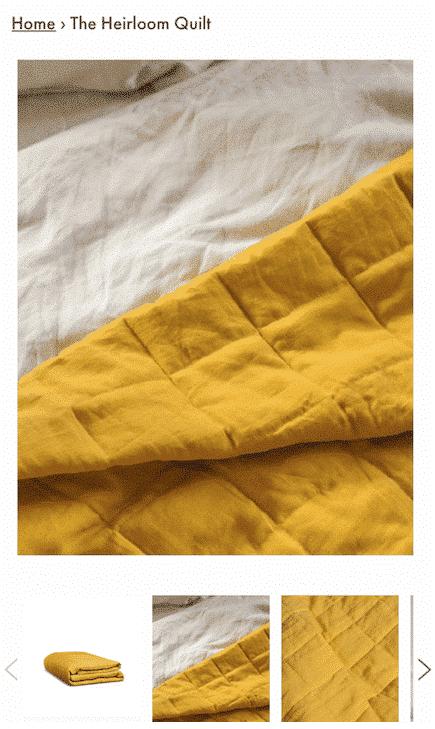 Page de produit de la courtepointe en lin lin sur le site Web