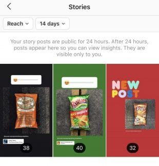 Instagram stories insights showing reach for last 3 posts