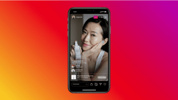 Influencer doing an Instagram live skincare tutorial