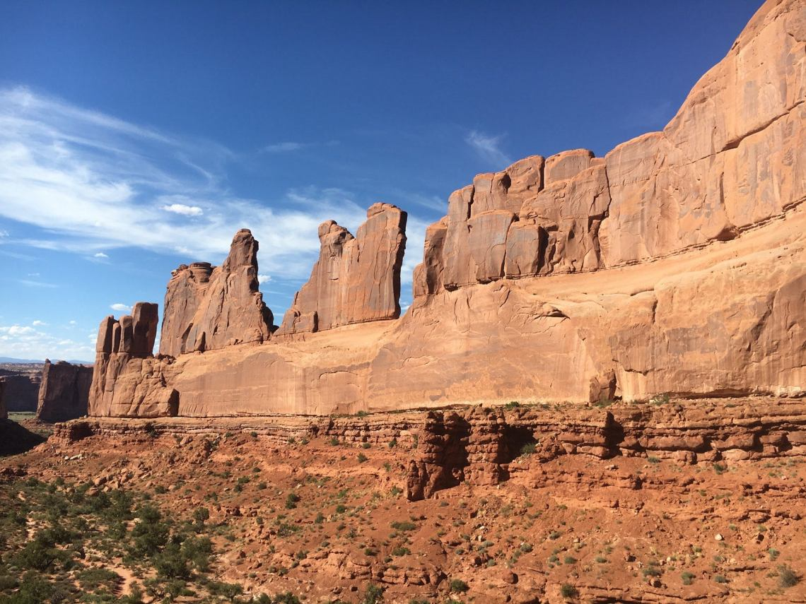 Park Avenue geographic walls seen while camping in Arches National Park