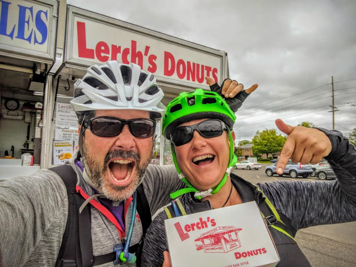 bikepacking fuel at lerch's donuts