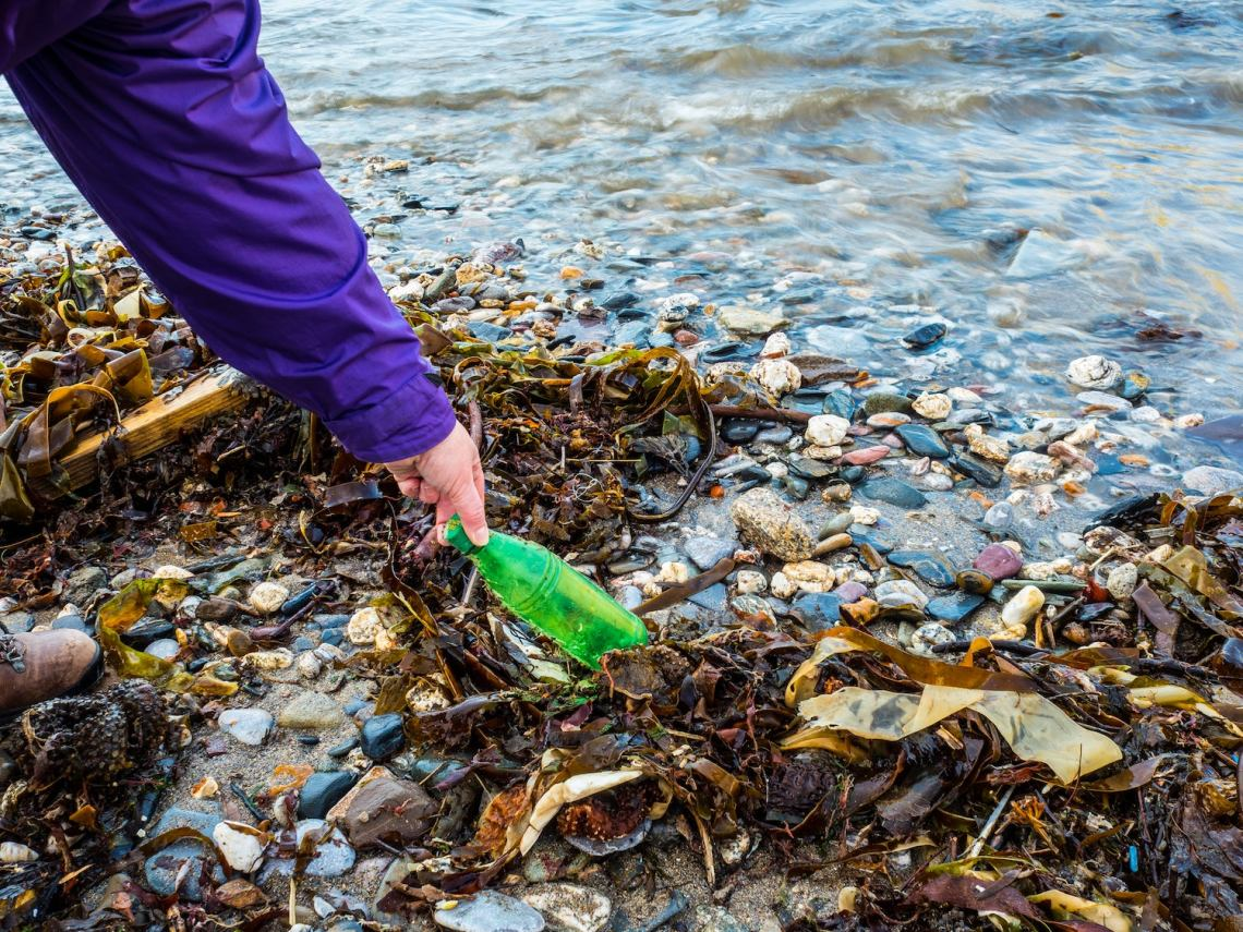 removing waste from water on leave no trace trip