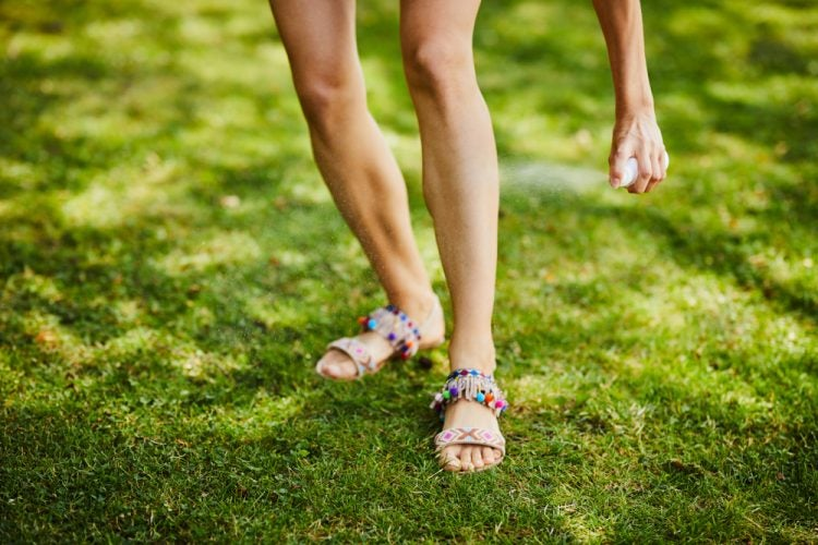 natural bug spray application to legs