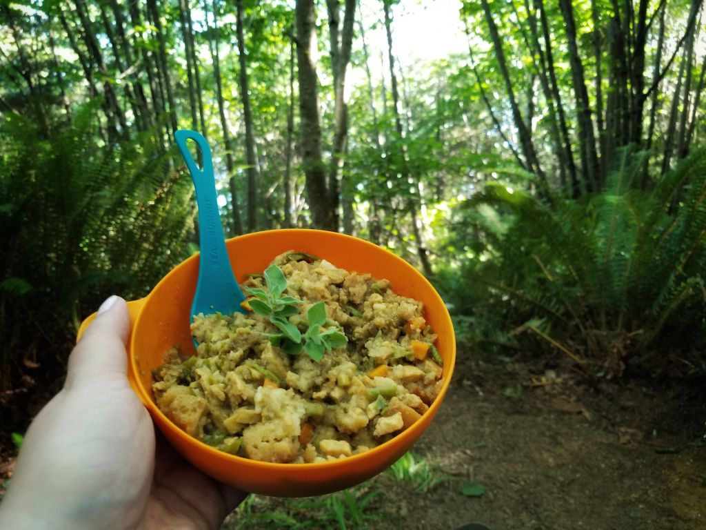 Having Thanksgiving camping with Mountain House turkey dinner topped with fresh thyme