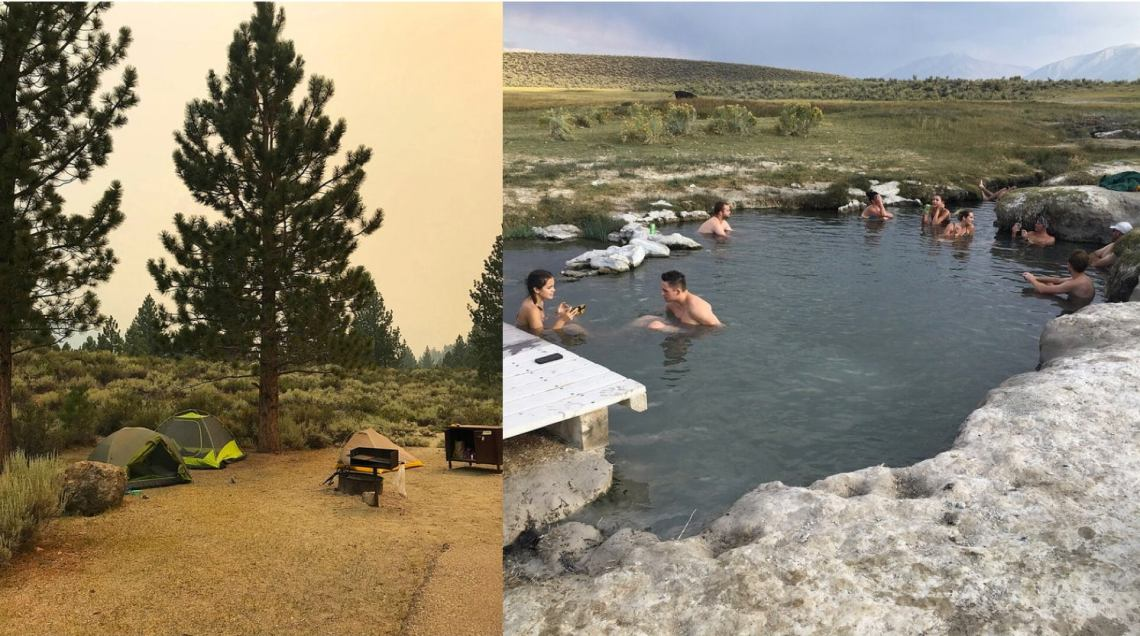 a split image of a california desert campsite and people bathing in a hot spring