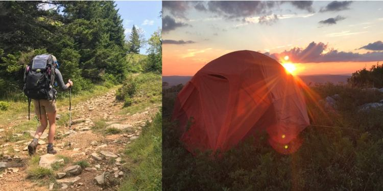a split image of a woman hiking and a tent at dusk in Dolly Sods