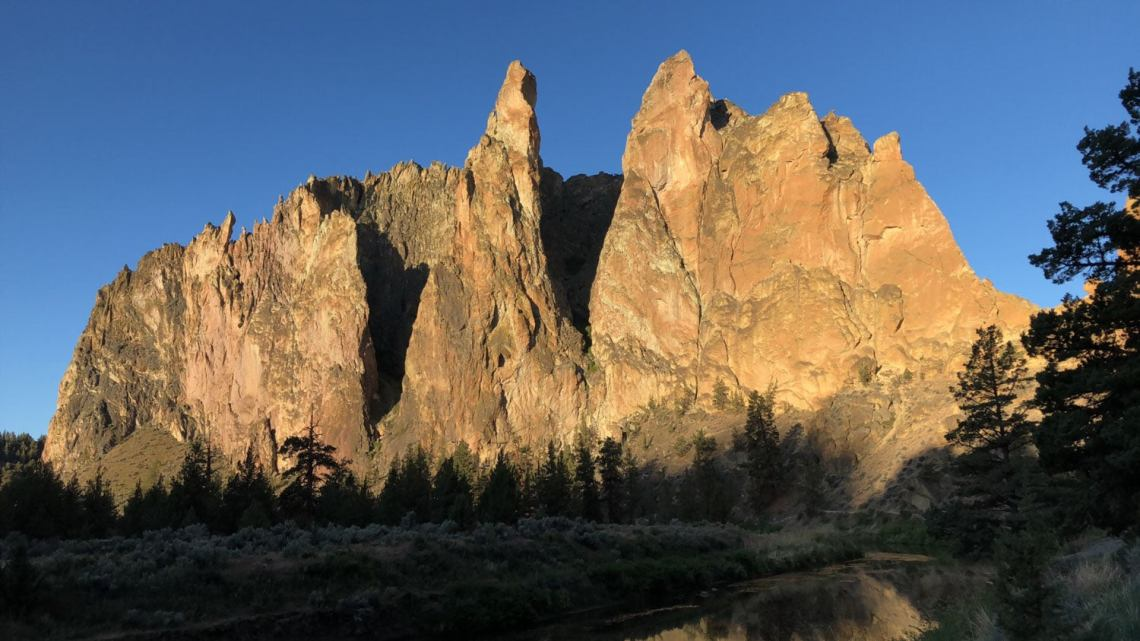 rock formation illuminated by the sun at Smith Rock State Park