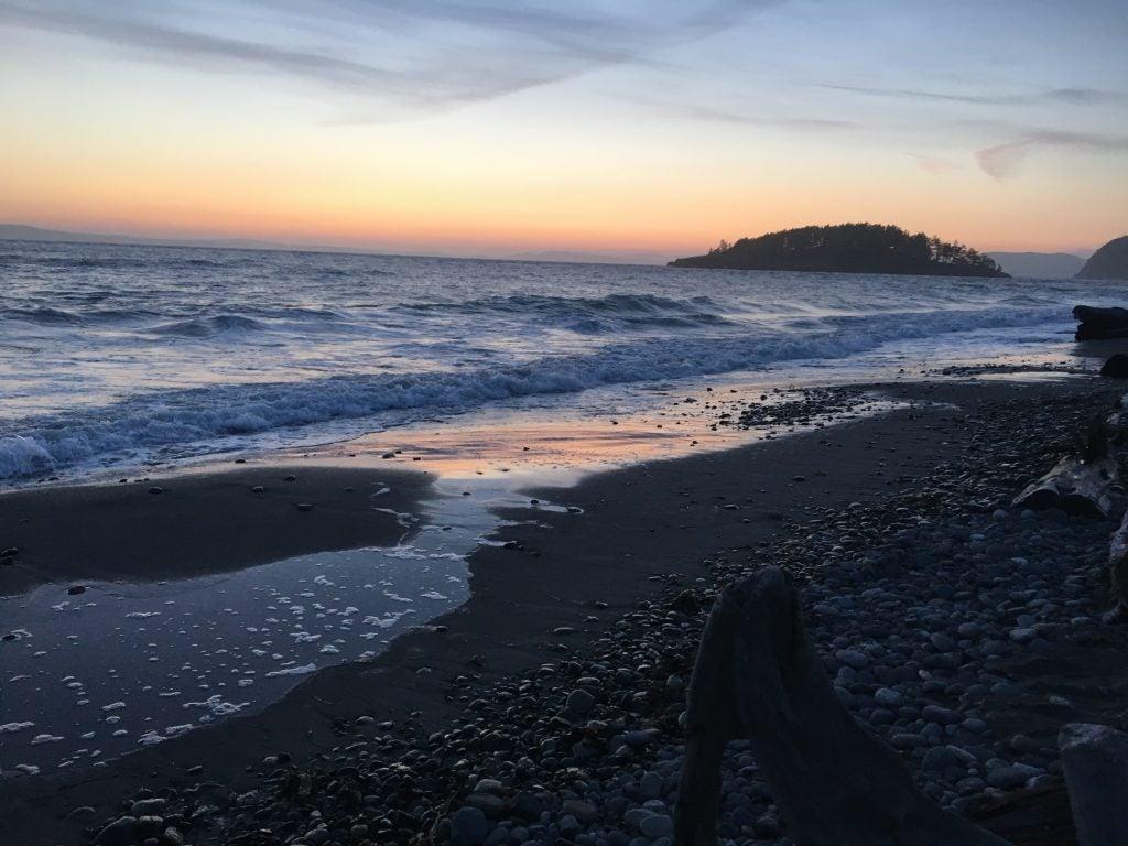 San Juan Island shoreline at sunset
