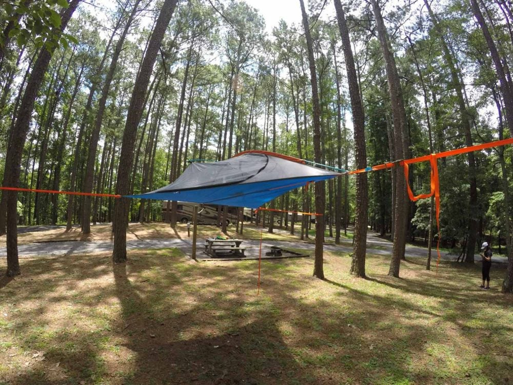 hammock tent suspended above Red Top Mountain State Park campsite