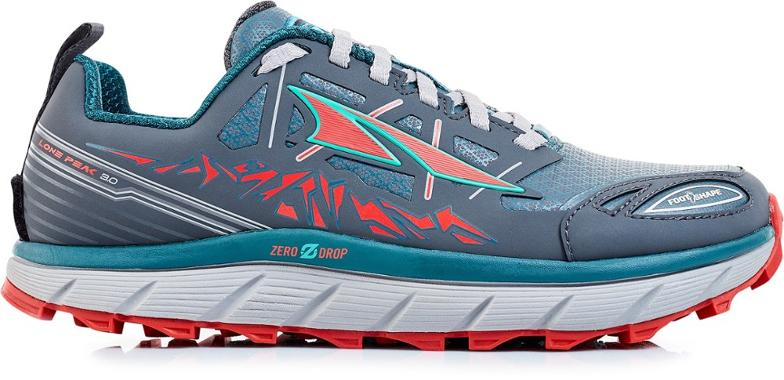 blue and red zero drop shoes on a white background