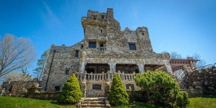 low angle view of gillette castle in gillette castle state park