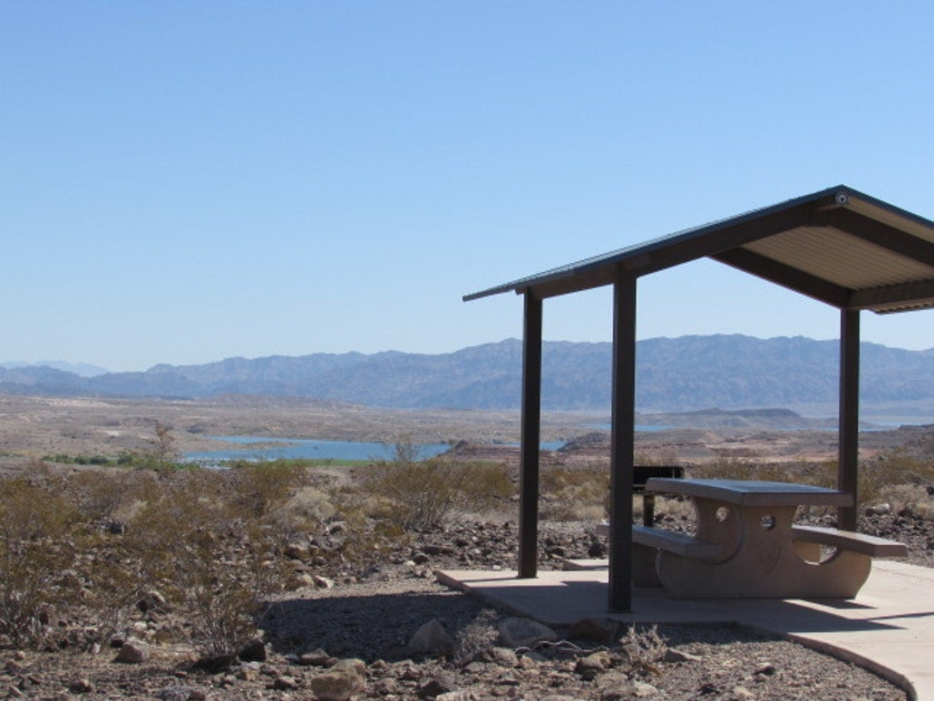 a campsite overlooking lake mead nevada