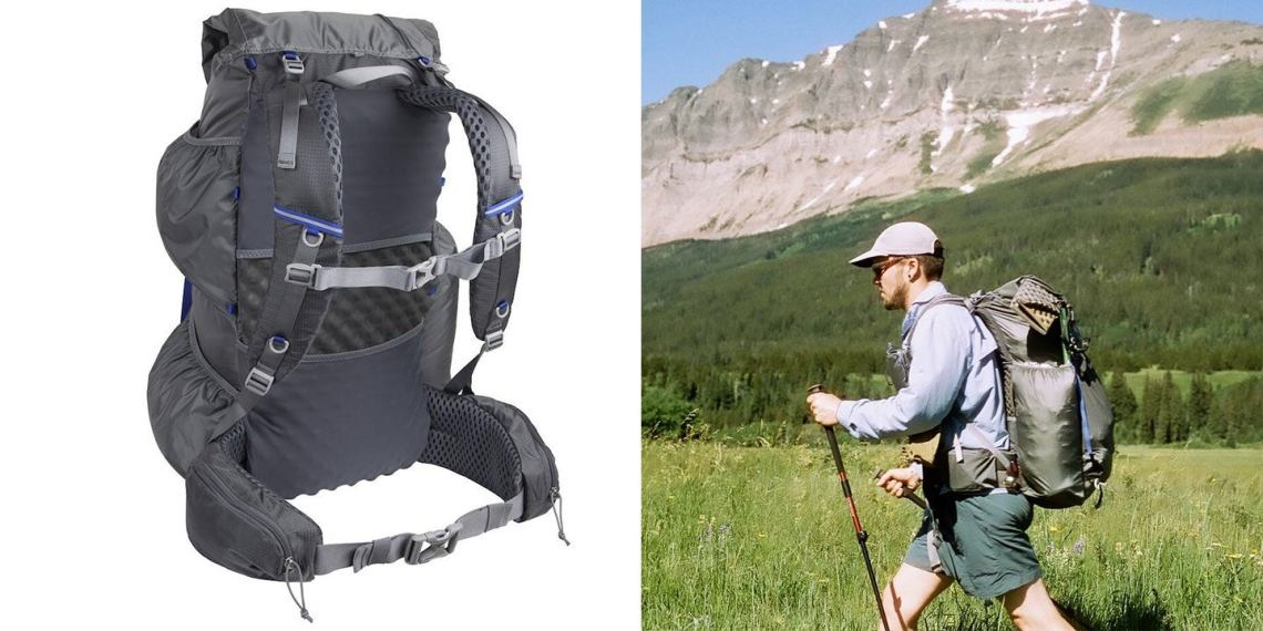 mariposa backpack in black next to image of man hiking mountainside