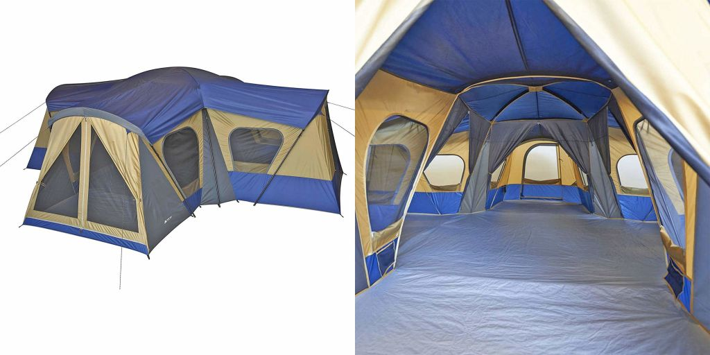 (left) exterior product image of 4 room glamping tent (right) interior of main tent room