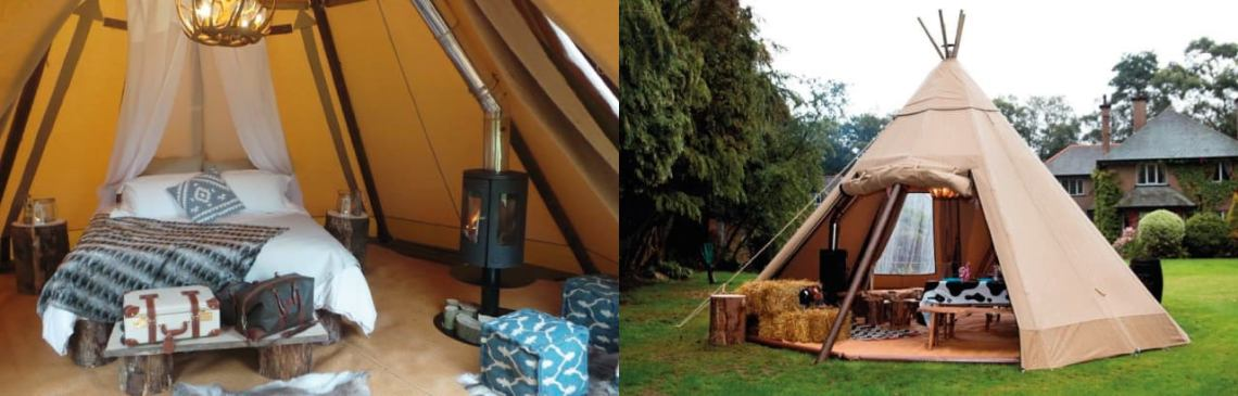 inside and outside view of a well furnished tipi