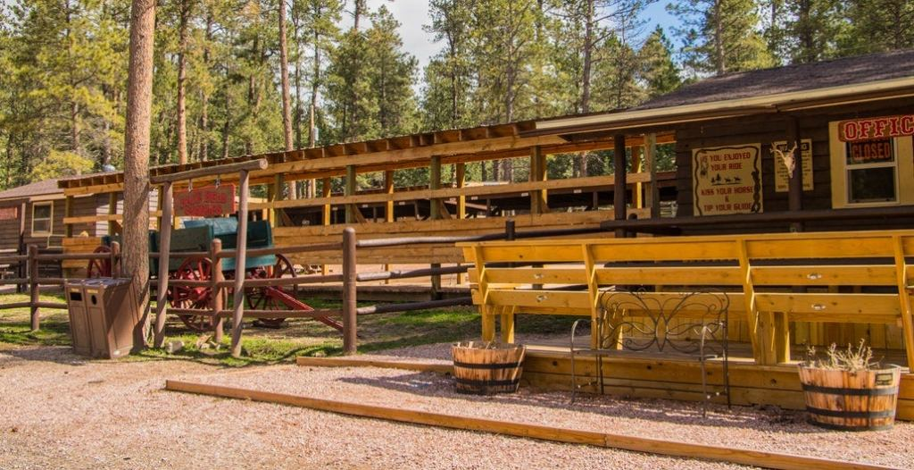 the old wooden blue bell stables in custer state park